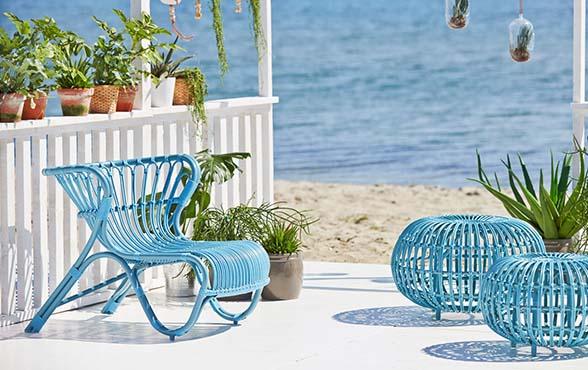 blue wall design rattan polyrattan tipps shop. Black Bedroom Furniture Sets. Home Design Ideas